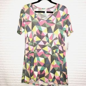 LulaRoe XXS Perfect T Pink Gray Green Geo Shirt